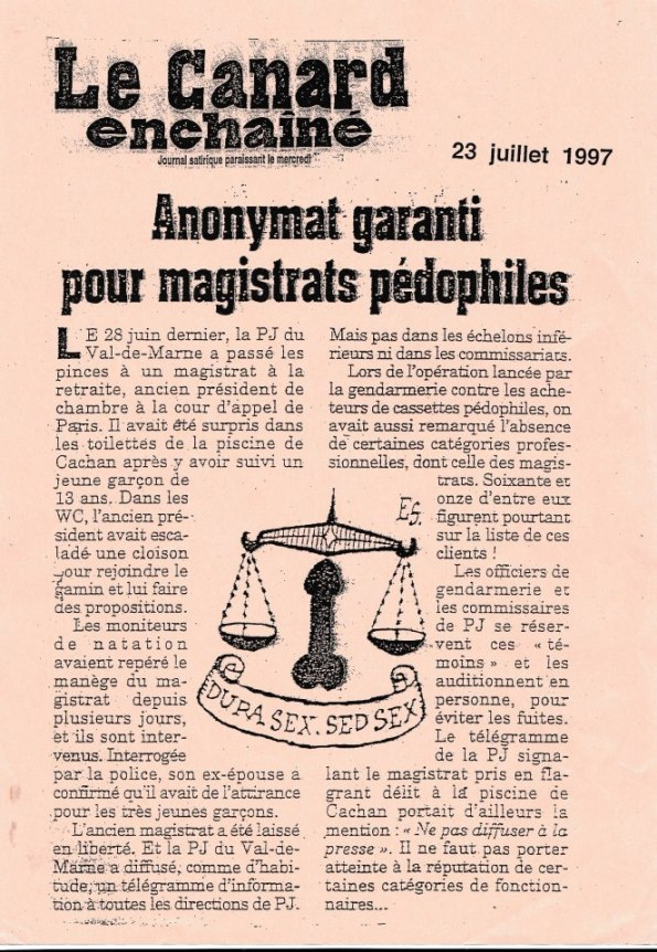 impunite pour magistrats pedocriminels
