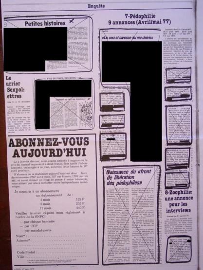 Libération,  porte-voix du FLIP 'Front de libération des pédophiles'